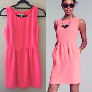J. Crew Camille A-line Dress Neon Coral Pink Sz 0